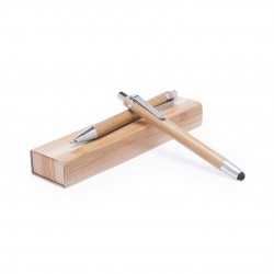bolígrafo de mecanismo pulsador y portaminas en origina de bambu