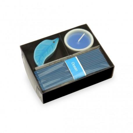 Set Velas Incienso Nikel Azul