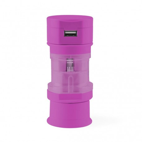 Adaptador Enchufes Tribox Fucsia