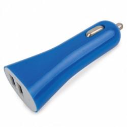 Cargador De Coche Doble Usb Azul