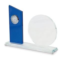 Placa Conmemorativa Cristal Con Reloj